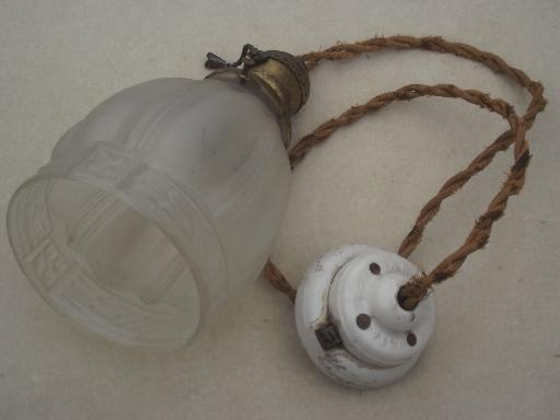 antique pendant light, Hubbell hardware pull chain lamp w/ glass shade