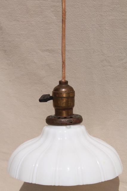 Antique pendant light fixture industrial hanging bulb socket w vintage milk glass shade