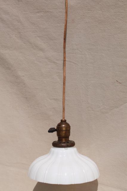 Antique Pendant Light Fixture Industrial Hanging Bulb Socket W Vintage Milk