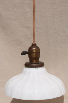 antique pendant light fixture, industrial hanging bulb socket w/ vintage milk glass shade