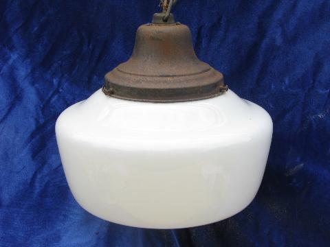 antique pendant light, original hardware, vintage glass schoolhouse shade