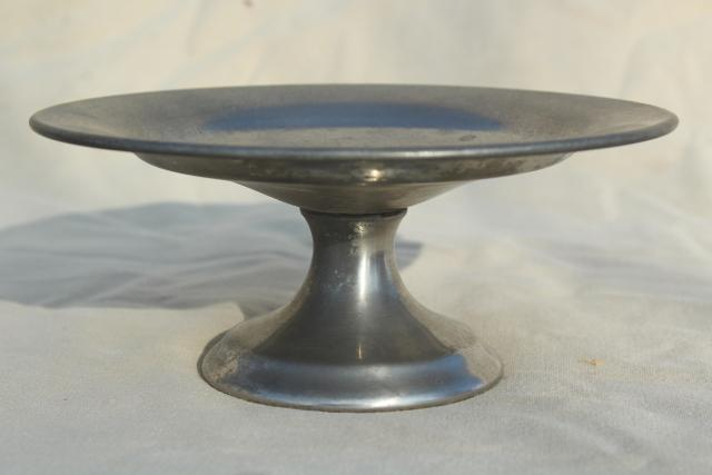 antique pewter compote, pedestal stand fruit plate, vintage Ray Silver early 1900s