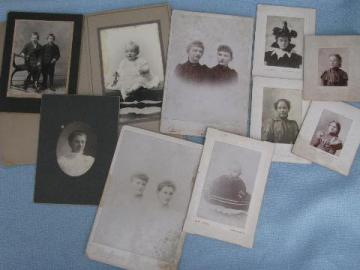 antique photos lot, circa 1880s girls, lady in hat, cabinet portraits