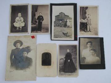 antique photos lot, circa 1900 farm scene & gibson girl portraits