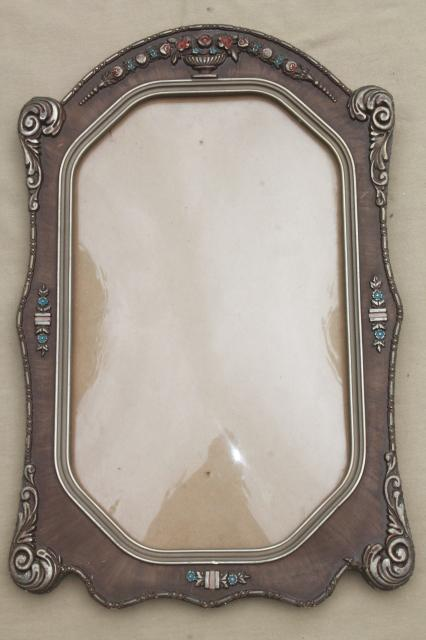 antique picture frame w rectangular convex glass