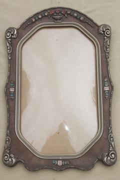 antique picture frame w/ rectangular convex glass & beautiful original paint gesso