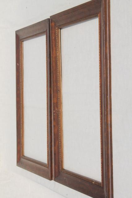 Antique Picture Frames Grained Wood Frame Pair Early 1900s Vintage