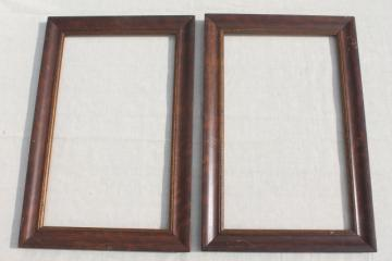 antique picture frames, grained wood frame pair, early 1900s vintage
