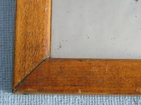 Antique Pine Frame Shaving Mirror Plank Back Vintage