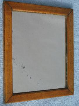 antique pine frame shaving mirror, plank back, vintage shellac varnish finish
