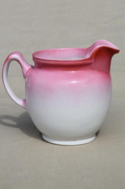 Antique Pink Floral China Milk Pitcher W Early Vintage