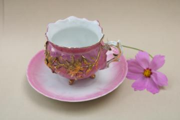 antique pink luster & gold four toed teacup & saucer, Christmas poinsettia