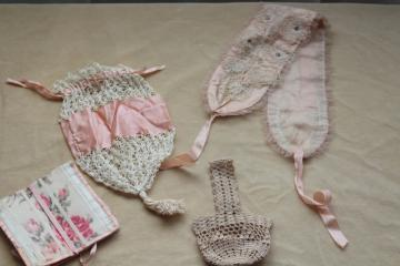 antique pink silk & lace girls bonnet, purse, basket bag, flowered ribbon sewing kit