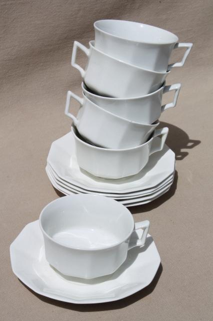 Antique Plain White China Cups Amp Saucers Set For 6