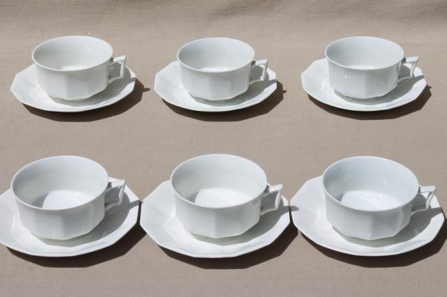 antique plain white china cups & saucers set for 6, vintage Johnson Bros circa 1913