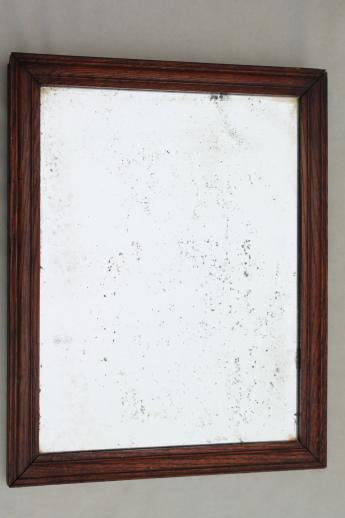 antique plank back oak frame shaving mirror, primitive vintage washstand mirror craftsman style