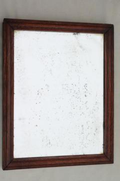 antique plank back oak frame shaving mirror, primitive vintage washstand mirror craftsman style