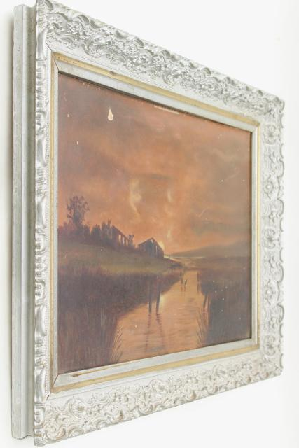 antique plank back original painting, sunset landscape in ornate gesso picture frame
