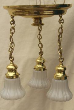 antique polished brass pendant shower light w/ glass lamp shades, vintage lighting fixture
