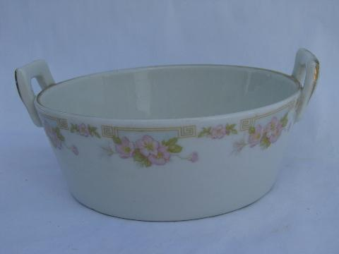 antique porcelain butter dish tub bucket, early 1900s vintage Buffalo china