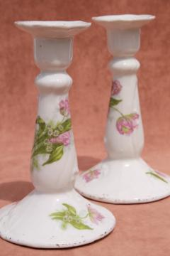 antique porcelain candlesticks w/ tulips, unmarked old china candle holders