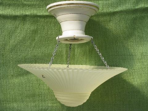 Antique Porcelain Ceiling Light Fixture W Old Pattern