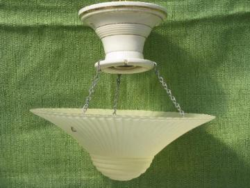antique porcelain ceiling light fixture w/ old pattern glass dome shade