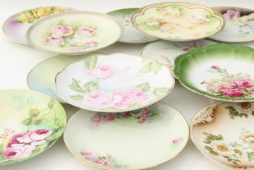 antique porcelain plates w/ hand painted roses, vintage shabby chic floral wedding china