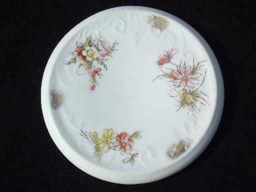 antique porcelain tea kettle trivets, early 1900s vintage floral china