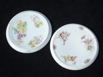 antique porcelain tea kettle trivets, early 1900s vintage floral china