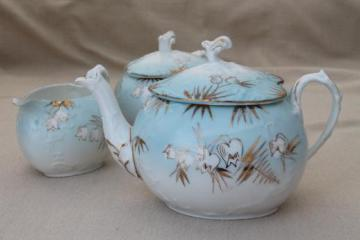 antique porcelain tea set, hand painted snowdrops heart shape china teapot, cream & sugar