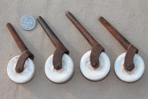 antique porcelain wheel casters, vintage china furniture wheels, restoration  parts - Antique Porcelain Wheel Casters, Vintage China Furniture Wheels