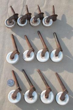 antique porcelain wheel casters, vintage china furniture wheels, restoration parts
