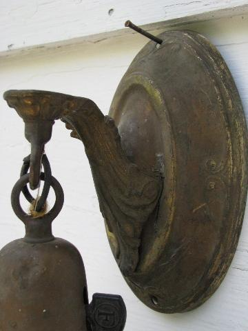 antique pressed brass ornate wall sconce pendant light, old floral glass shade