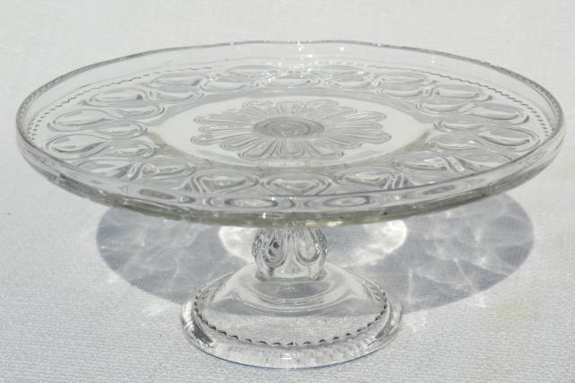 antique pressed glass cake stand pedestal plate 1890s vintage EAPG ribbon candy pattern & antique pressed glass cake stand pedestal plate 1890s vintage EAPG ...