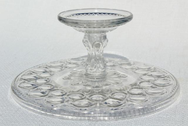Antique pressed glass cake stand pedestal plate 1890s for Colored glass cake stand