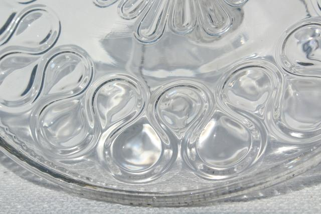 Antique Pressed Glass Cake Stand Pedestal Plate 1890s