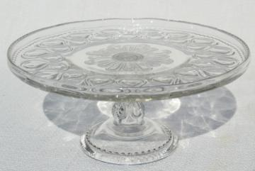 antique pressed glass cake stand pedestal plate, 1890s vintage EAPG ribbon candy pattern