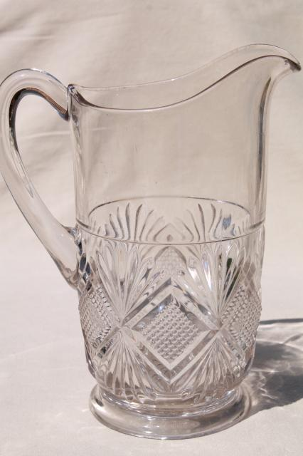 antique pressed glass lemonade pitcher, EAPG diamond & sunburst, waffle block & fan