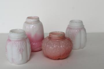 antique pressed glass shakers collection, pink & white milk glass EAPG patterns
