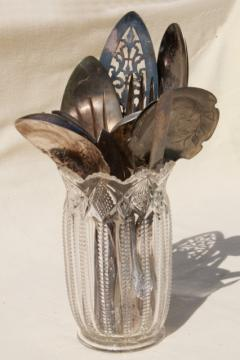 antique pressed glass spooner vase full of old silver flatware, vintage silverware lot