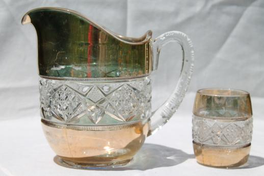 Antique Pressed Glass Water Pitcher Amp Glasses Set Wide