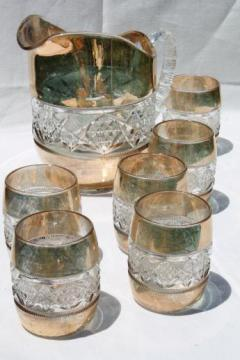 antique pressed glass water pitcher & glasses set, wide gold band barrel shape tumblers