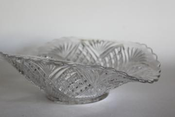small trinket bowl hand woven basket with decorative cross.htm antique   vintage pressed pattern glass dishes   serving pieces  antique   vintage pressed pattern glass