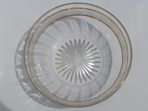 Antique Pressed Pattern Glass Berry Bowls Set Gold