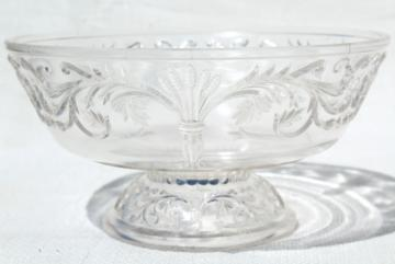 antique pressed pattern glass compote bowl, barley corn or wheat sheaf & scrolls