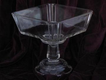 antique pressed pattern glass compote, square bowl EAPG pedestal dish