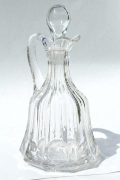 antique pressed pattern glass cruet, large bottle w/ stopper, EAPG colonial panel