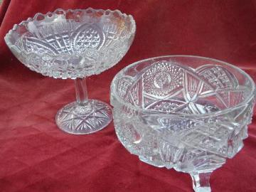 antique pressed pattern glass, nu-cut cut glass style, comport & large footed bowl