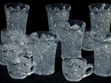 antique pressed pattern glass tumbler glasses & punch cups set of six